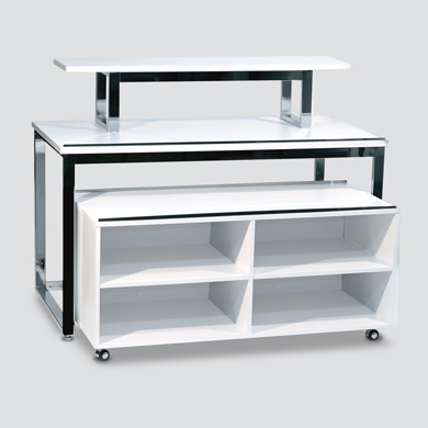 Nestled Table With Cubby Display - White + Chrome