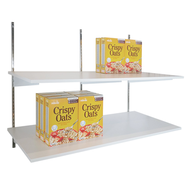 3 Ft. Slotted Standard Set With White Wood Shelves