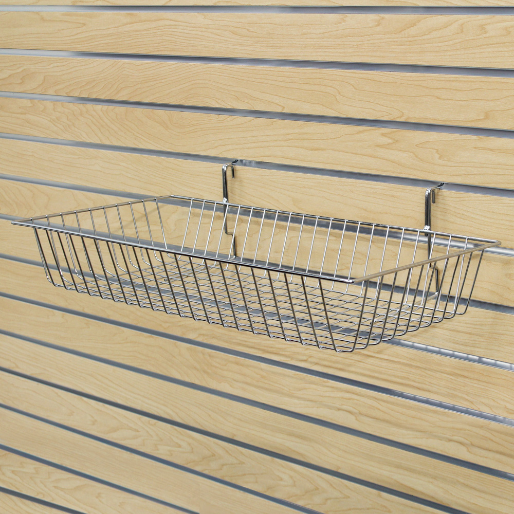 "24""W X 12""D X 4""H  Basket (Slatgrid) - Chrome"