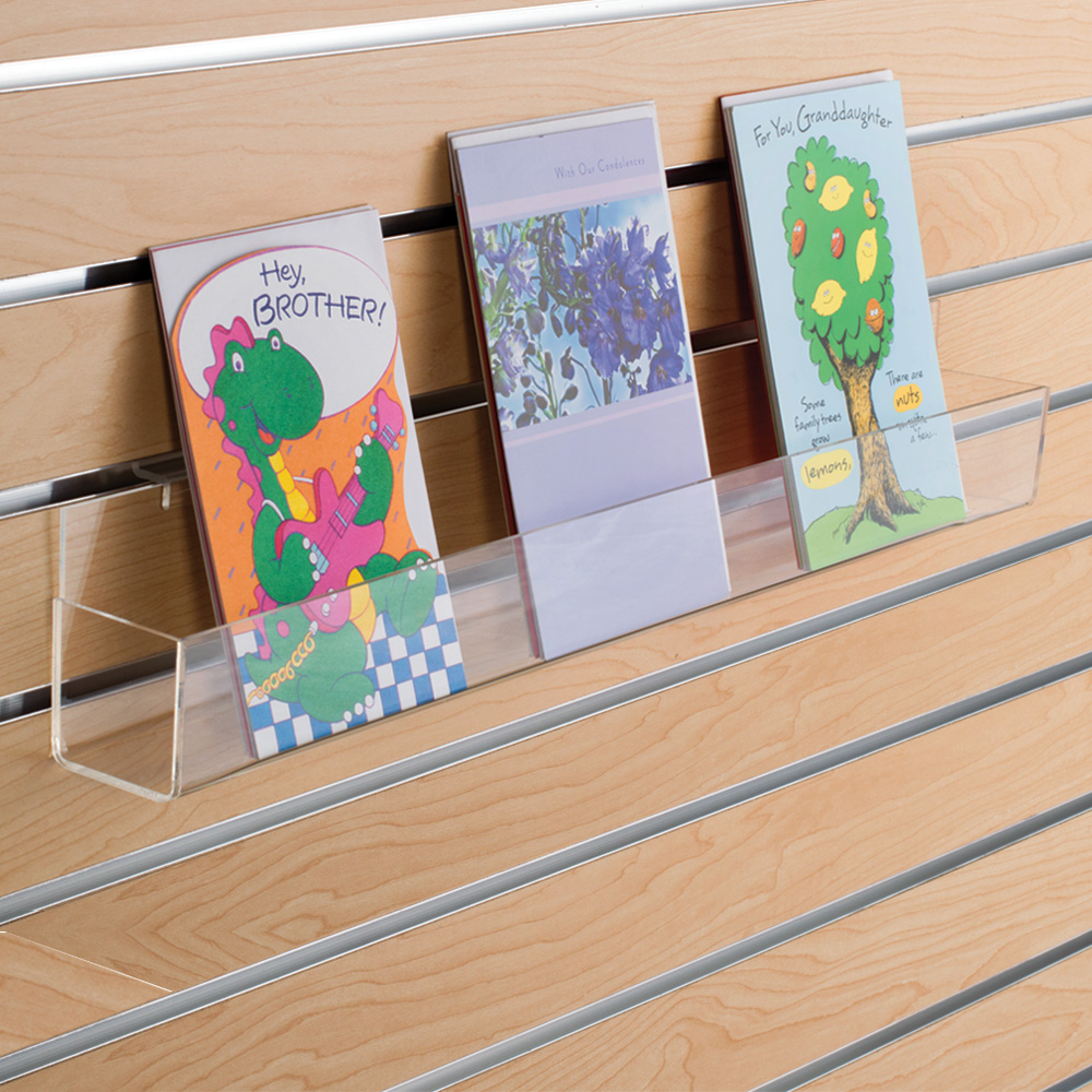 Acrylic Greeting Card Display Shelf For Slatwall Specialty Store