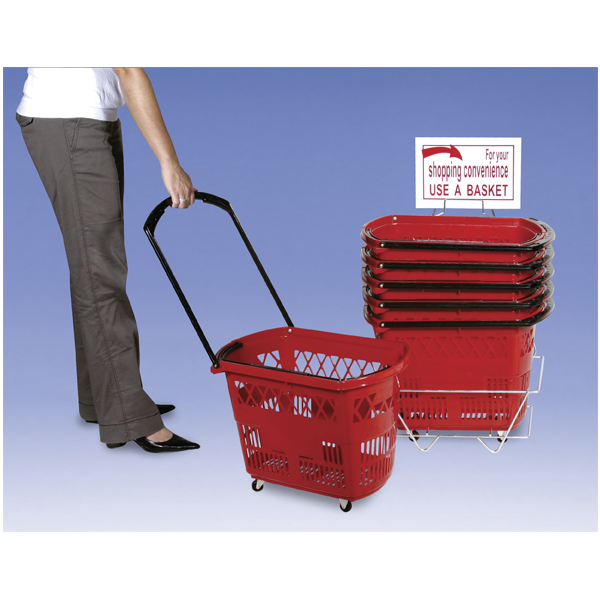 Plastic Shopping Baskets Set Of 6 Red Plastic Rolling