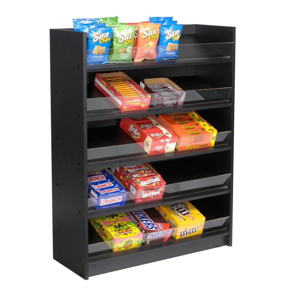 5 Shelf Floor Standing Snack Display - Black