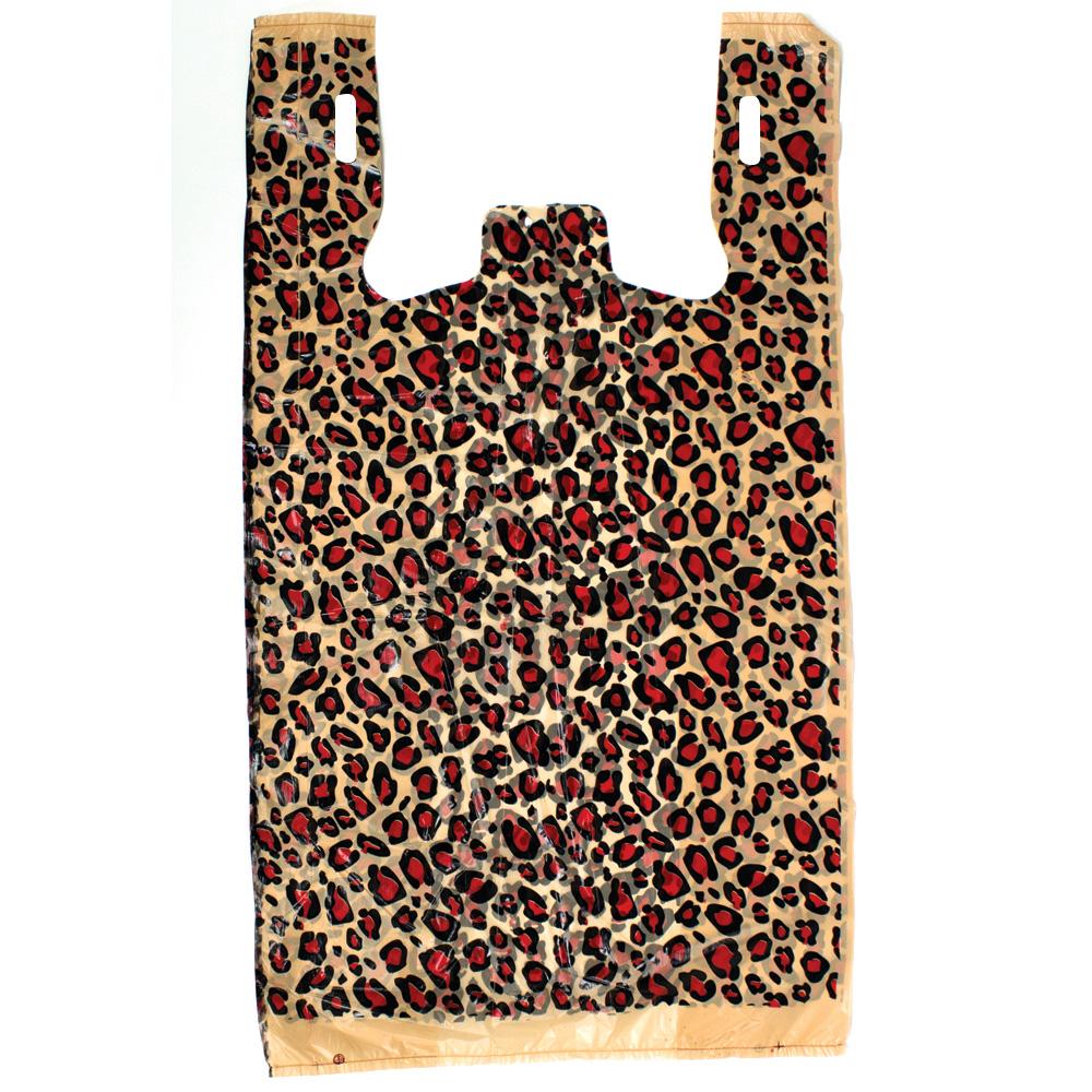 Plastic bags for retail leopard print plastic t shirt for Jumbo t shirt bags