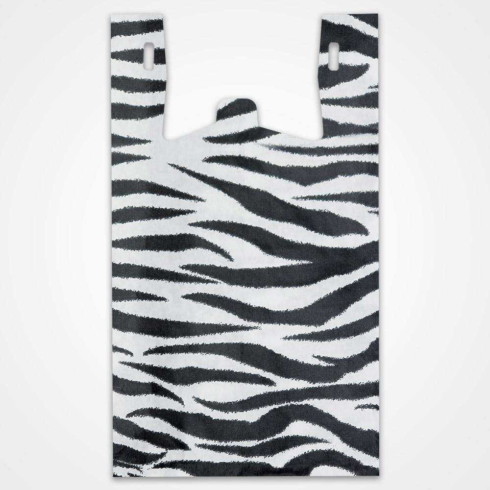 Zebra Print Plastic T Shirt Bags 11 5 In X 6