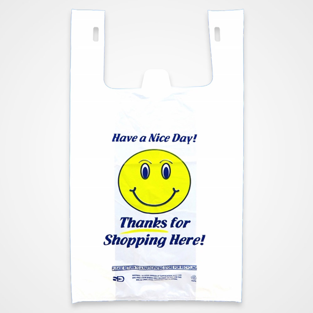 Thank You Bags Large Smiley Thank You Plastic T Shirt