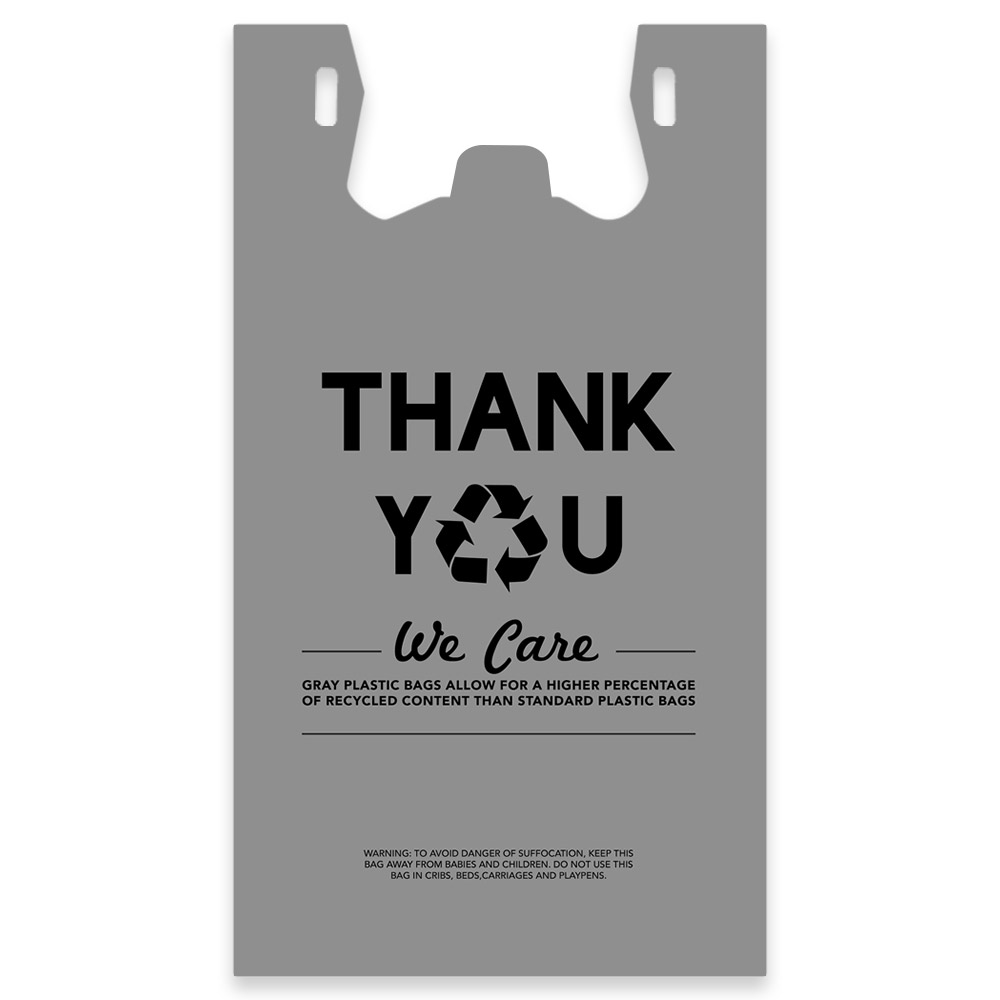 Eco-Friendly Thank You Plastic T-Shirt Bag Have 30% Recycled Content