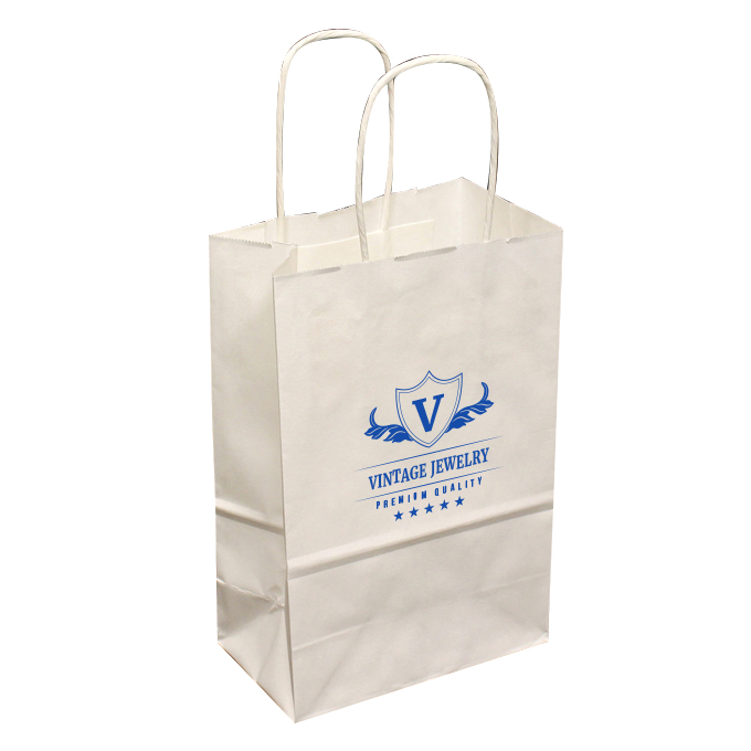 Small Custom Printed White Shopping Bags  a383c0644ea8a