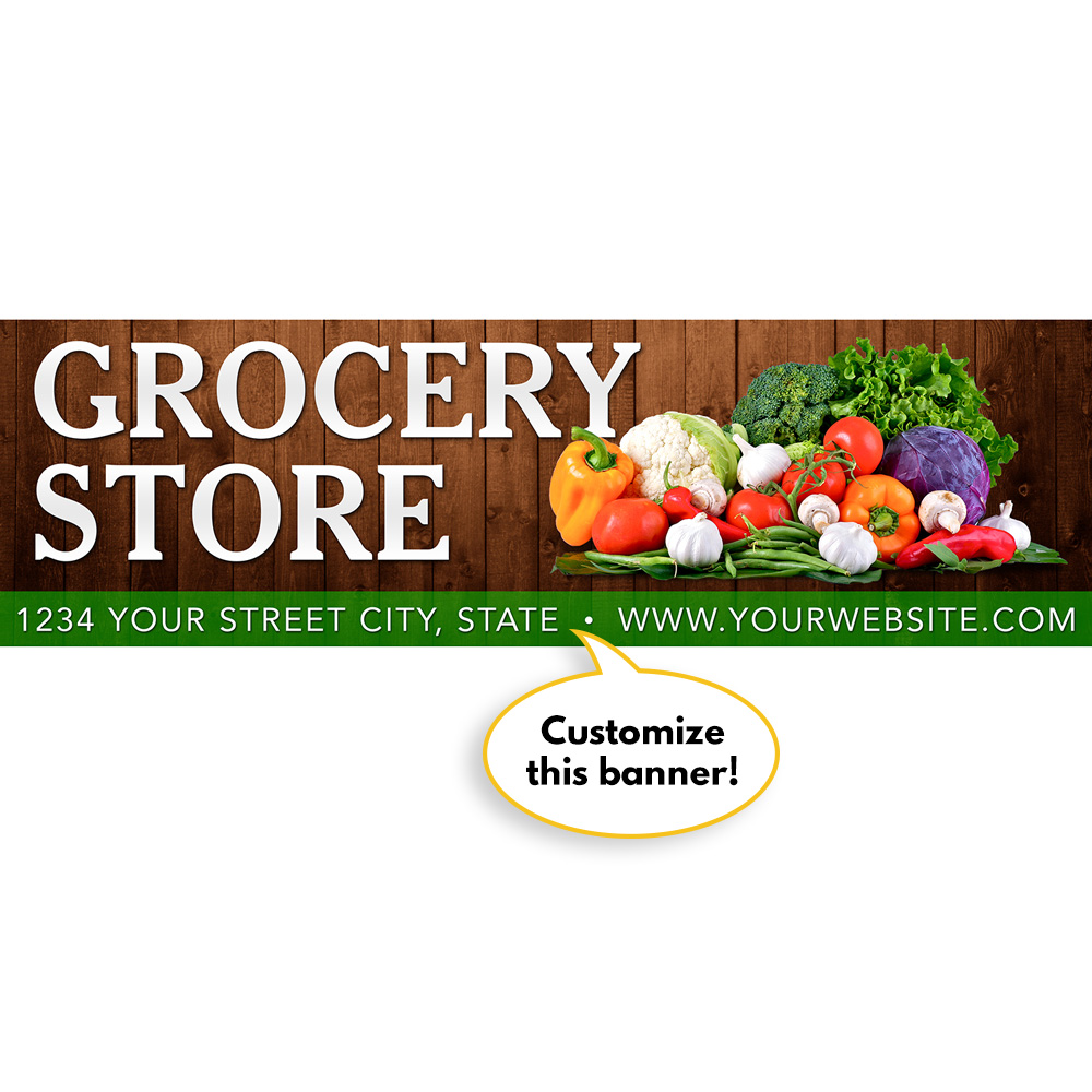 Custom Grocery Store Vinyl Banner  Specialty Store Services. Italics Signs Of Stroke. Calendar Holiday Decals. Khan Logo. Cake Signs Of Stroke. Depression Signs. Glass Panel Decals. Tierra Y Libertad Murals. Where To Buy Records Online