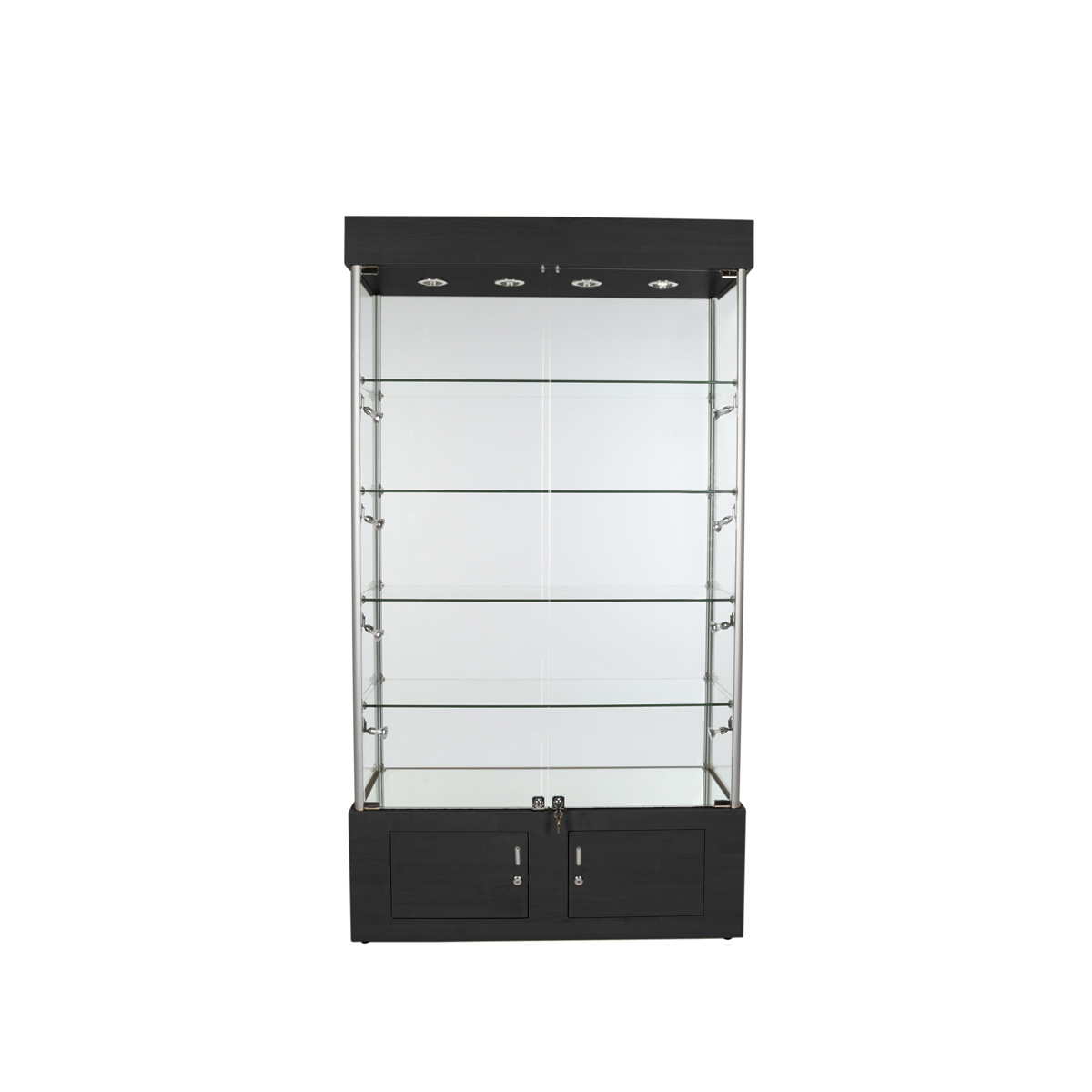 Assembled All Glass Tower Display Case with Shelves & 12 Halogen ...